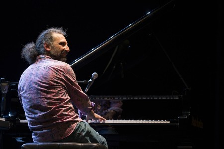 "NAPLES, Italy - 11.01.2016 Stefano Bollani, Italian pianist and composer, plays piano and Fender Rhodes during his piano solo tour called "" Arrivano Gli Alieni "" in Teatro Augusteo (Naples)."
